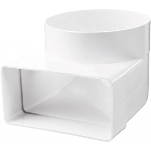 Колено 90° пластиковое для соединения прямоугольных воздуховодов с круглыми 55х110/Ø100 (521)