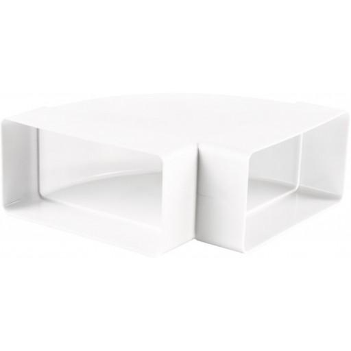 Колено горизонтальное 90° пластиковое для прямоугольных воздуховодов 55х110 (5251)