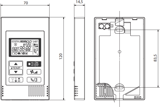 Mitsubishi Electric PAC-YT52CRA - Размеры