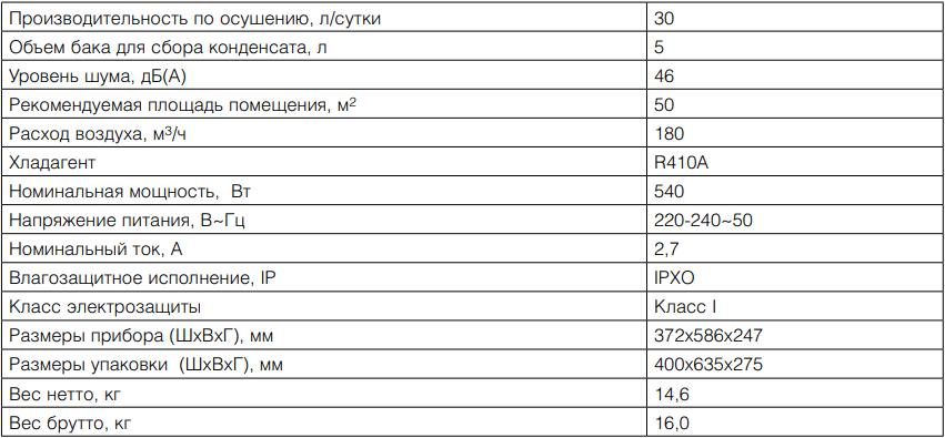 Сушильный мультикомплекс Ballu BDM-30L - Технические характеристики