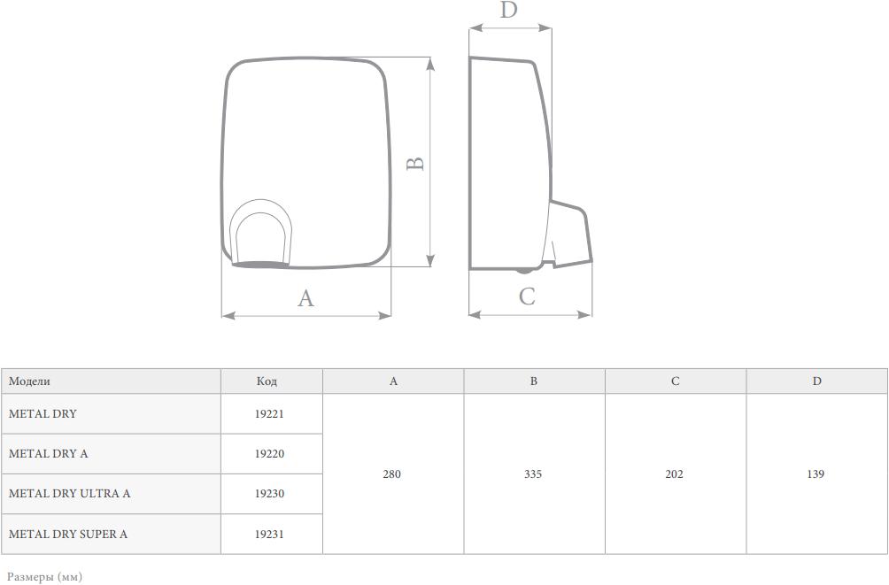 Сушилка для рук Vortice Metal Dry - Размеры