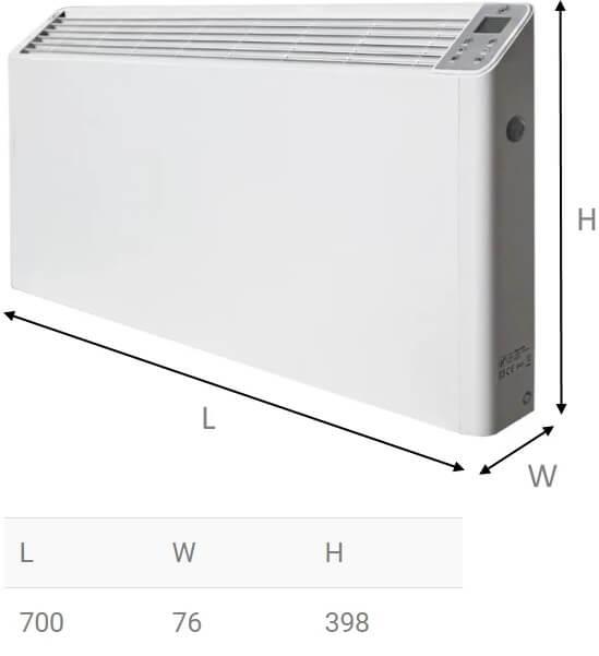 Программируемый конвектор Soler&Palau PM-1505 - Размеры