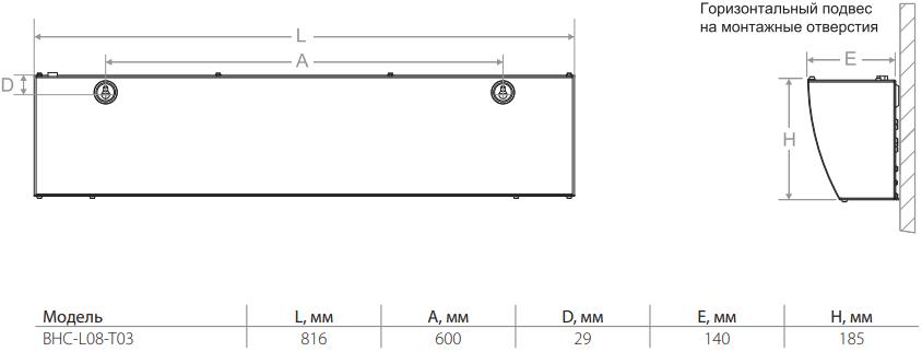 Электрическая тепловая завеса Ballu BHC-L08-T03 - Размеры