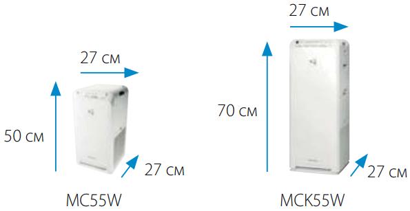 Очистители воздуха Daikin MC-MCK55W - Размеры