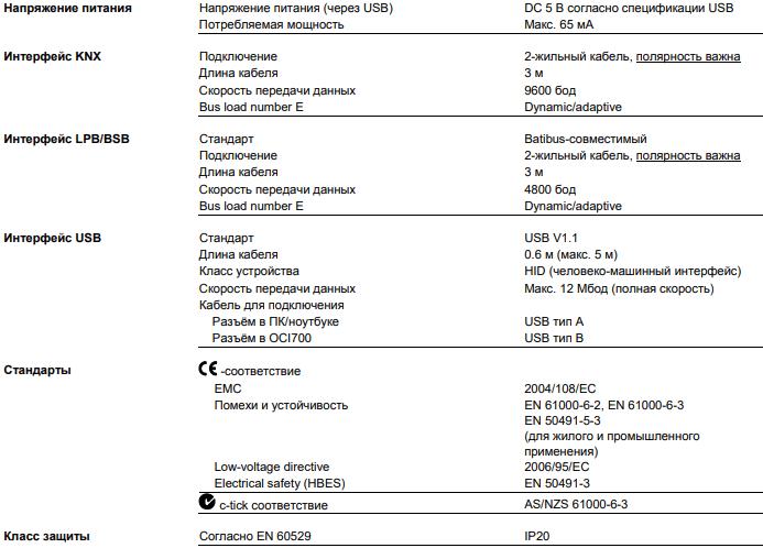 Сервисный комплект Siemens OCI700.1 - Технические характеристики