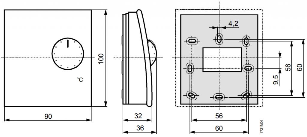 Датчик комнатной температуры Siemens QAA24 - Размеры