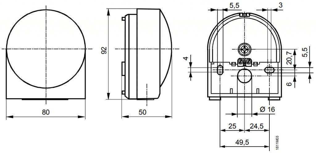 Наружный датчик температуры Siemens QAC2012 - Размеры