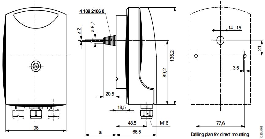 Термостат защиты от замерзания Siemens QAF64.2 - Размеры 1