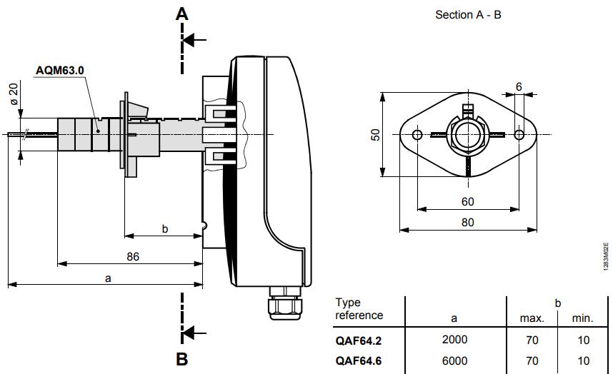 Термостат защиты от замерзания Siemens QAF64.2 - Размеры 2
