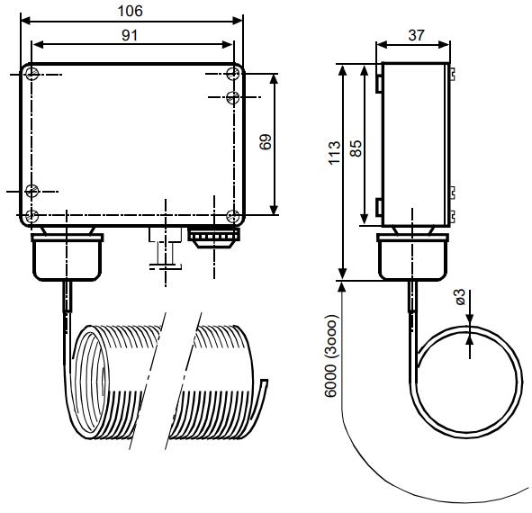 Термостат защиты от замерзания Siemens QAF81.6 - Размеры