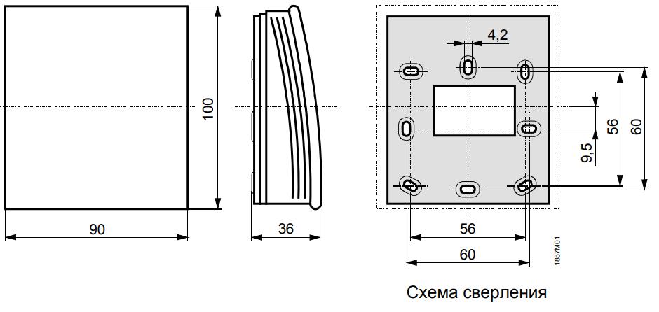 Датчик комнатной температуры и влажности Siemens QFA2020 - Размеры