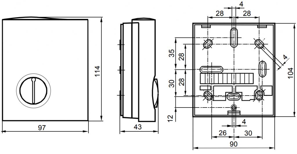 Контроллер комнатной температуры Siemens RLA162.1 - Размеры