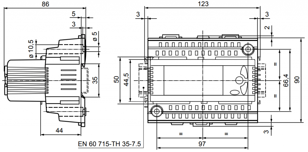 Универсальный контроллер Siemens RLU220 - Размеры