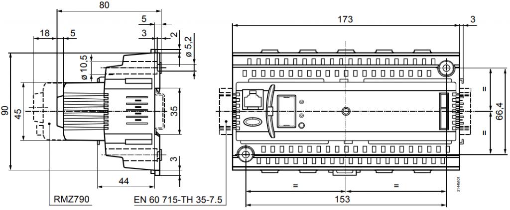 Универсальный контроллер Siemens RMU710B-4 - Размеры