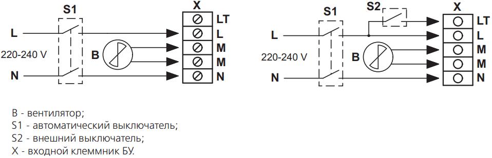 Блок управления вентилятором Вентс БУ-1-60 ТНРФ - Схемы подключения