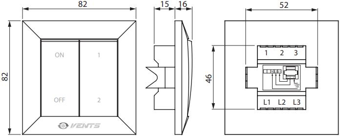 Переключатель скоростей Вентс П2-10 - Размеры