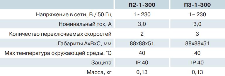 Переключатель скоростей Вентс П2/П3-1-300 - Характеристики