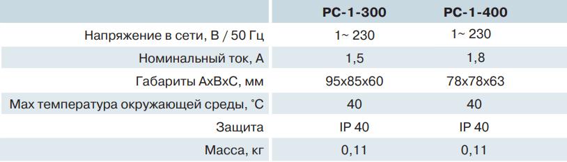 Регулятор скорости Вентс РС-1-300, РС-1-400 - Технические характеристики