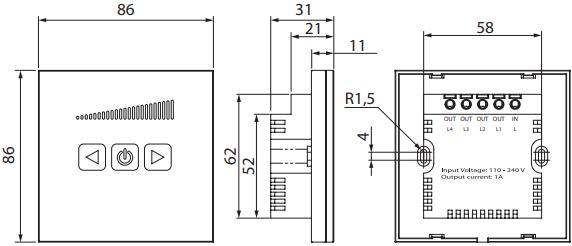 Сенсорный тиристорный регулятор скорости Вентс СРС-1 - Размеры