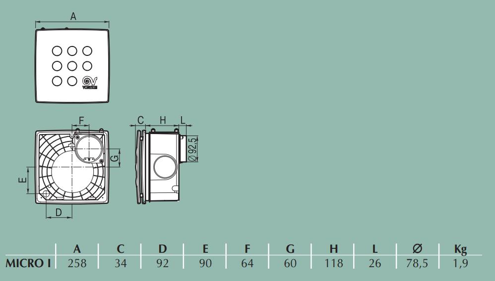 Vortice Vort Quadro Micro I - Габаритные размеры