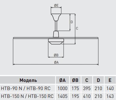 Потолочный вентилятор Soler&Palau HTB RC - Размеры
