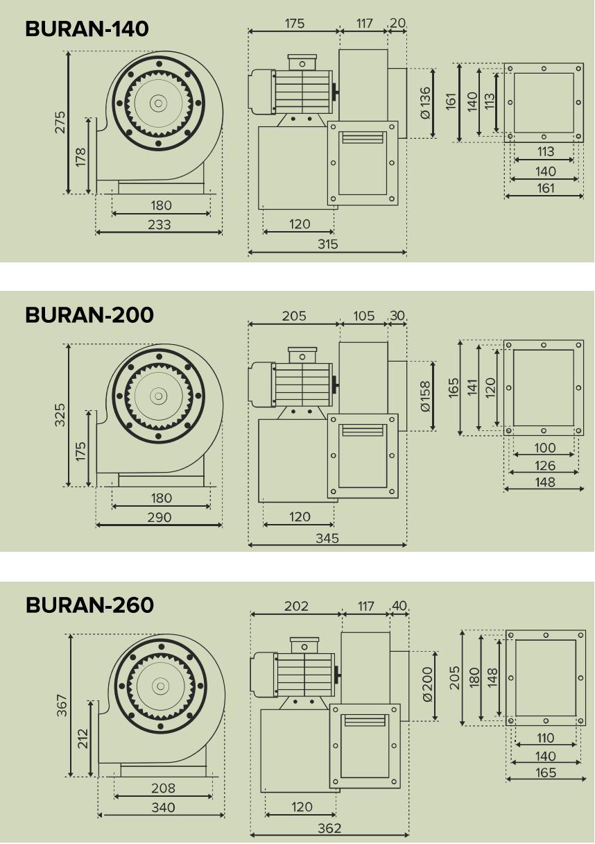 Радиальный вентилятор Era Buran Pro - Размеры