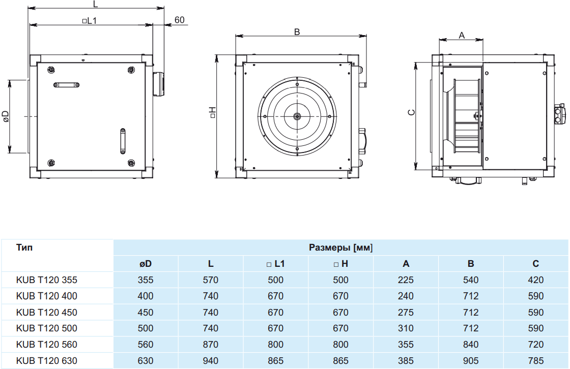 Кухонный вентилятор Salda KUB T120 - Размеры