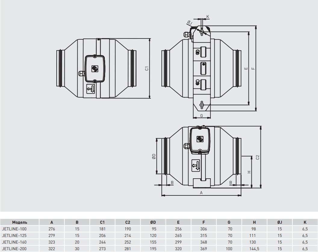Канальный вентилятор Soler&Palau Jetline - Размеры