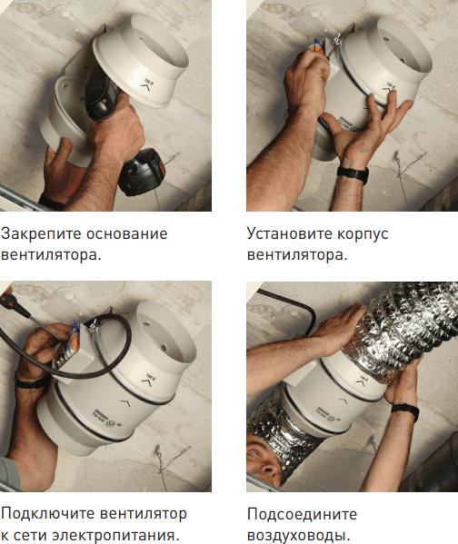 Канальный вентилятор Soler&Palau TD - Пример монтажа