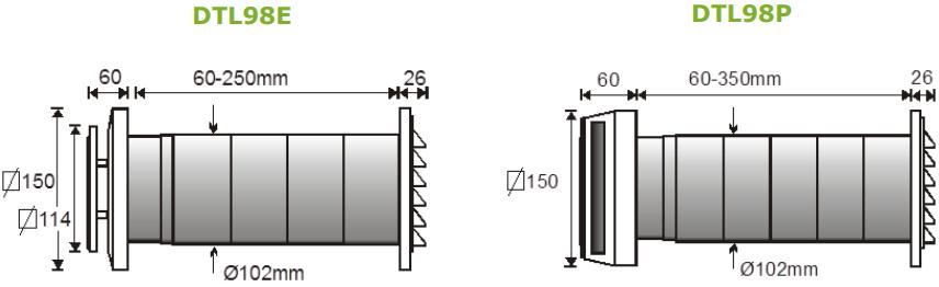 Приточный клапан DEC DTL - Размеры