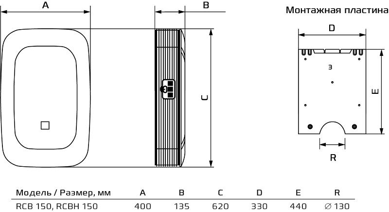Приточно-очистительный комплекс Royal Clima Brezza RCBH 150 - Размеры