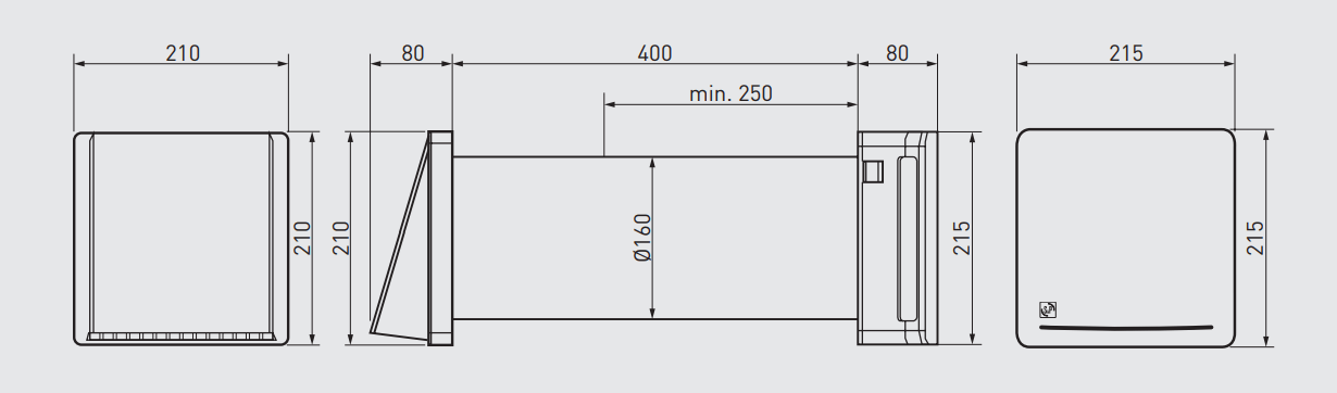Проветриватель-рекуператор Soler&Palau Respiro 150 - Размеры
