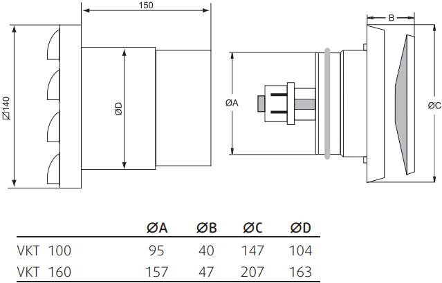 Саморегулирующийся приточный клапан Systemair VTK - Размеры