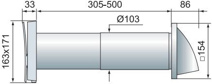 Стеновой проветриватель Вентс ПС 102 - Размеры