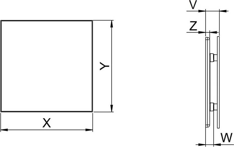 Панель декоративная стеклянная матовая Awenta Trax Glass - Размеры