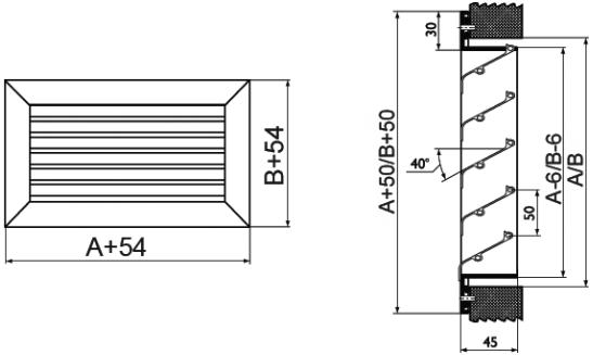 Наружная решетка алюминиевая Airone EAL - Размеры