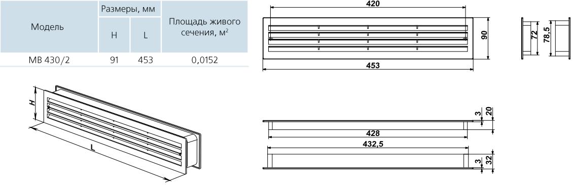 Дверная решетка прямоугольная пластиковая Вентс МВ 430/2 - Размеры