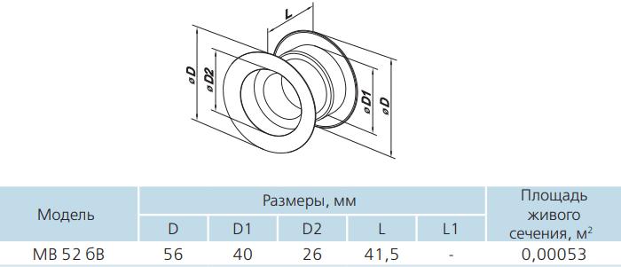 Дверная решетка круглая пластиковая Вентс МВ 52 бВ - Размеры