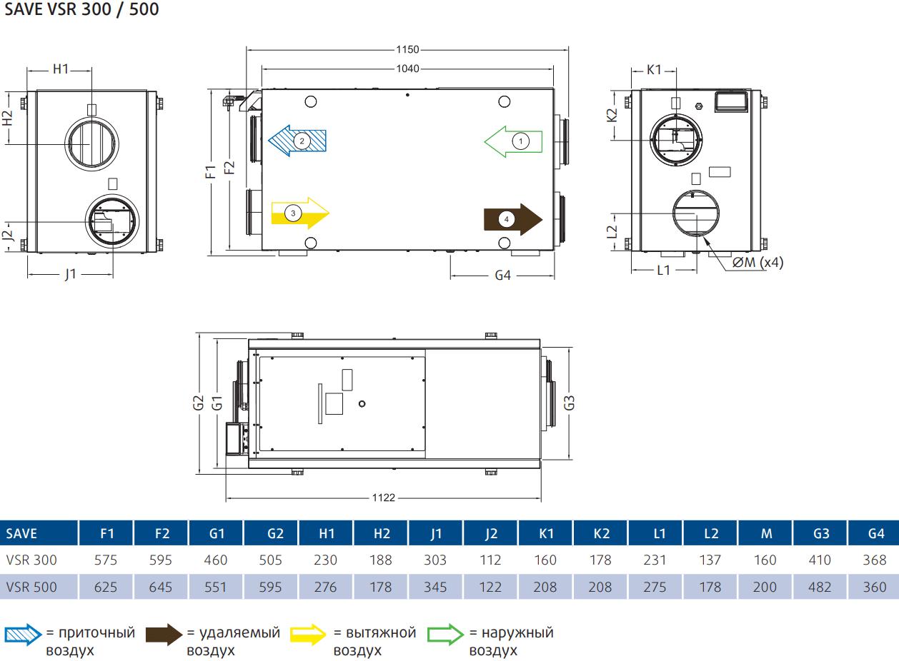 Приточно-вытяжная установка Systemair SAVE VSR 300-500 - Размеры