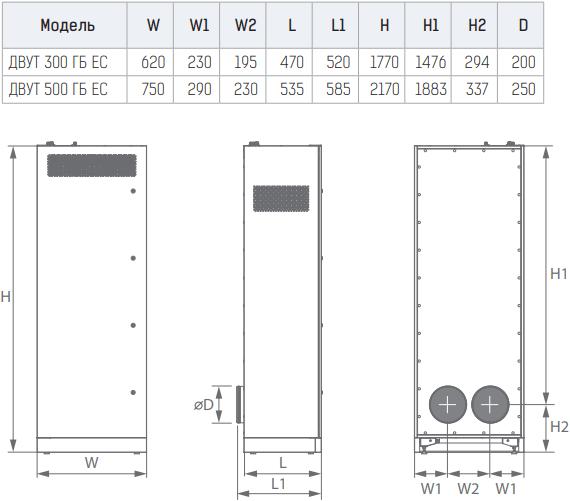 Приточно-вытяжная установка Вентс ДВУТ/ДВУЭ ГБ/ГБЭ ЕС - Размеры