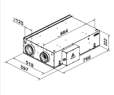 Приточно-вытяжная установка Вентс ВУТ2/ВУЭ2/ВУТЭ2 200 П - Размеры