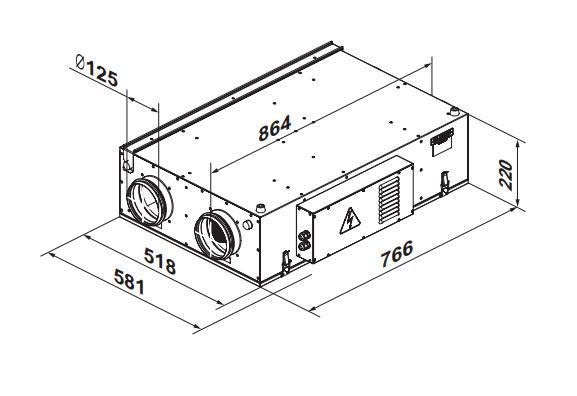 Приточно-вытяжная установка Вентс ВУТ2/ВУЭ2/ВУТЭ2 250 П ЕС - Размеры