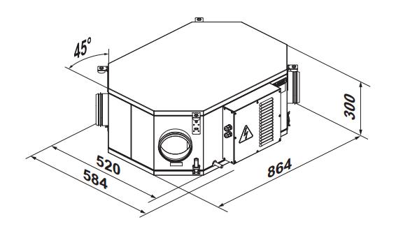 Приточно-вытяжная установка Вентс ВУТ2/ВУЭ2/ВУТЭ2 250 ПУ ЕС - Размеры