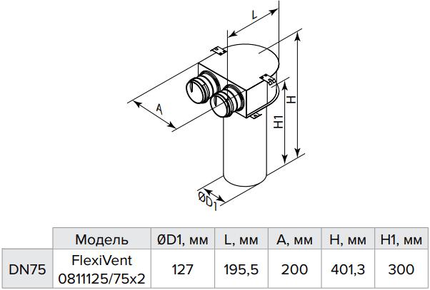 Пленум потолочный металлический Vents FlexiVent 0811125/75x2 / DN75 - Размеры