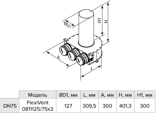 Пленум потолочный металлический Vents FlexiVent 0811125/75x3 / DN75 - Размеры