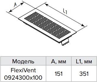 Решетка напольная металлическая накладная Vents FlexiVent 0924300x100 - Размеры