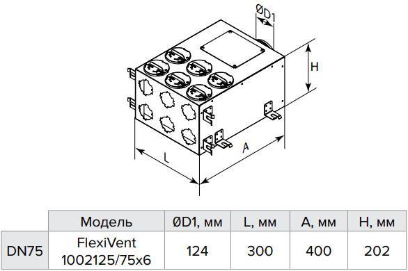 Коллектор металлический Vents FlexiVent 1002125/75x6 / DN75 - Размеры