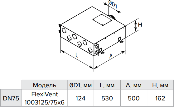 Коллектор металлический Vents FlexiVent 1003125/75x6 / DN75 - Размеры