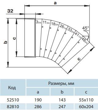 Колено универсальное для плоских воздуховодов - Размеры