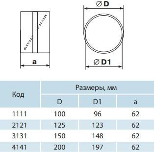 Соединитель круглых воздуховодов с обратным клапаном - Размеры